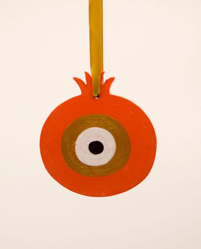 Ρόδι ματάκι ξύλινο χειροποίητο διαμέτρου 9 cm πορτοκαλί χρυσό