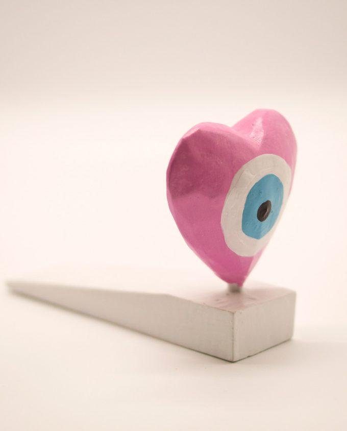 Σφήνα πόρτας ξύλινη καρδιά ματάκι ροζ