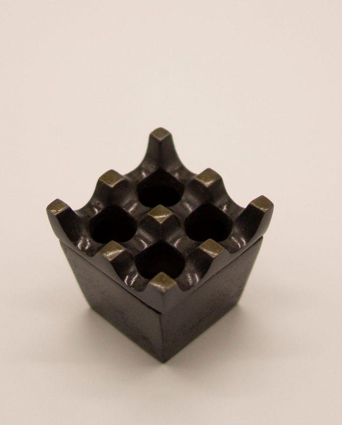 Τασάκι μεταλλικό αλουμίνιο καφέ αντικ 2 x 2 τρύπες