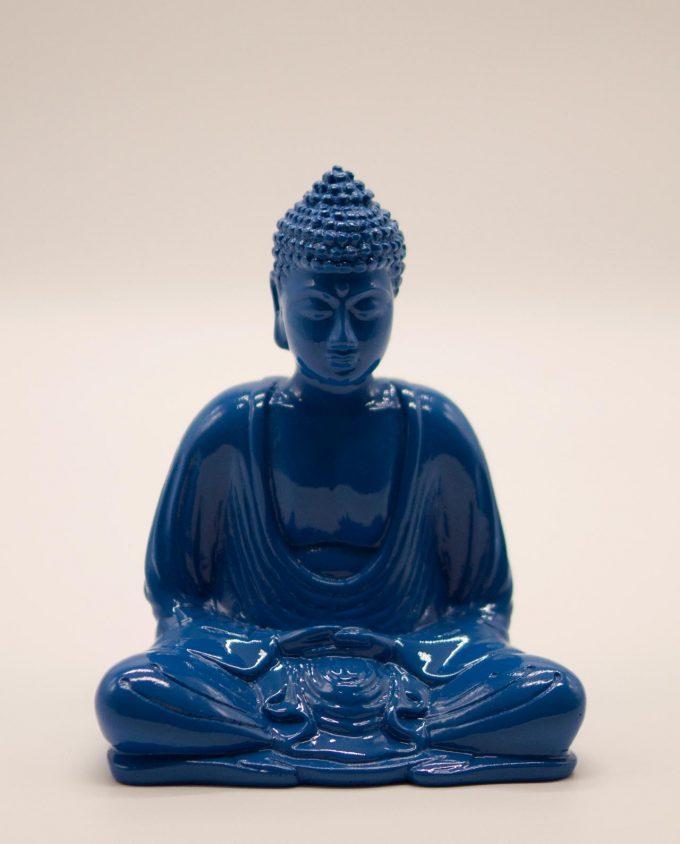 Βούδας ρητίνη ύψους 15 cm σε στάση διαλογισμού μπλε