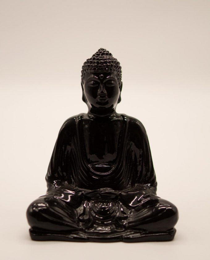 Βούδας ρητίνη ύψους 15 cm σε στάση διαλογισμού μαύρος