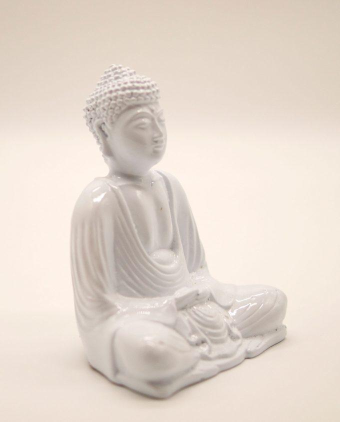 Βούδας ρητίνη ύψους 15 cm σε στάση διαλογισμού άσπρος