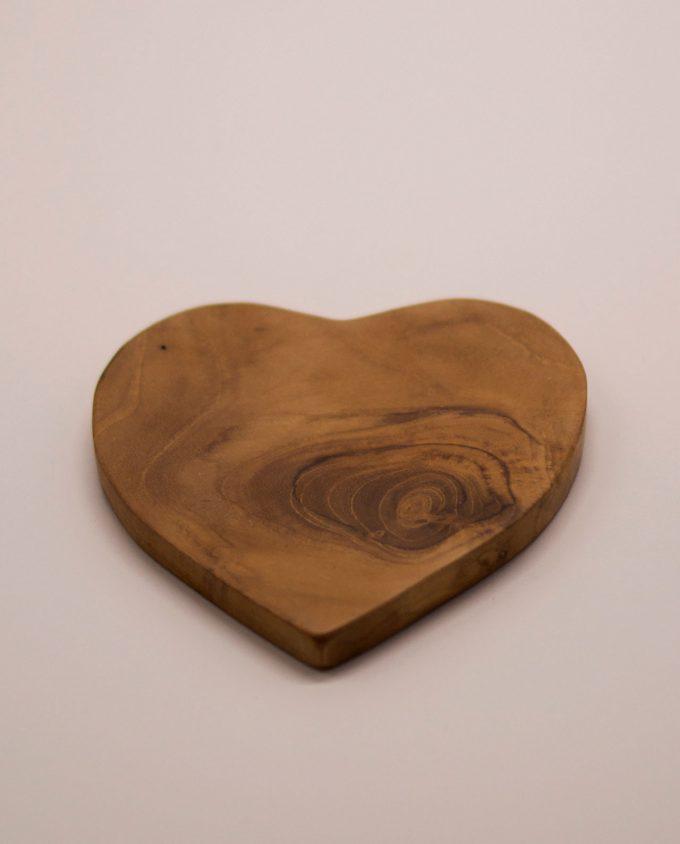Σουβέρ Τικ ξύλο σχήμα καρδιάς διαμέτρου 10 cm