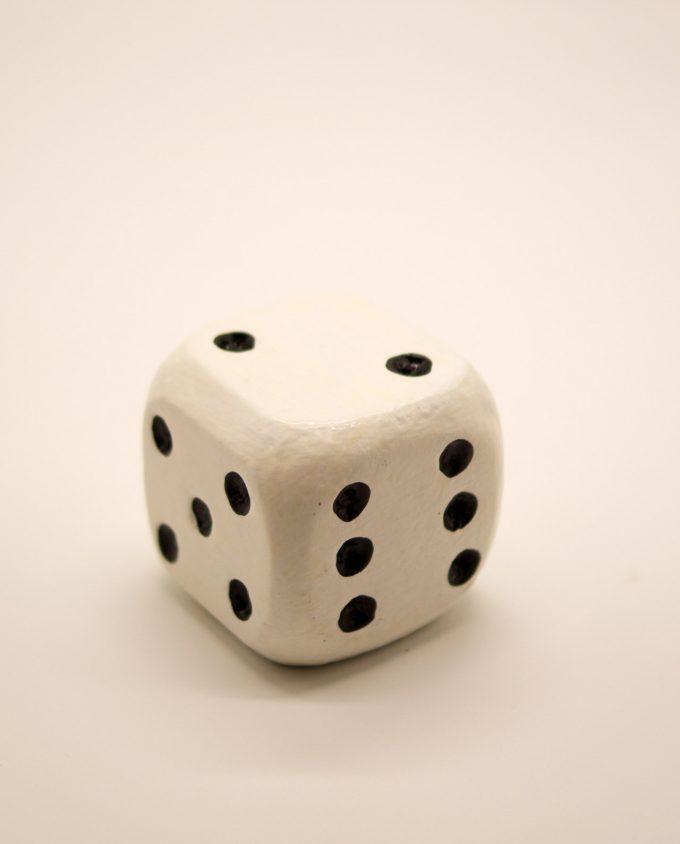 Ζάρι ξύλινο 8.5 cm x 8.5 cm x 8.5 cm άσπρο