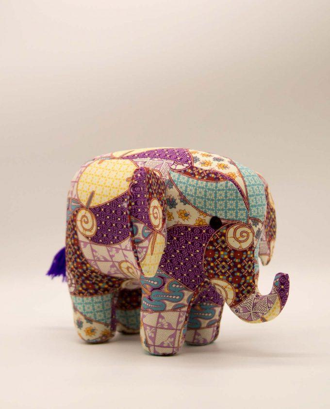 Ελέφαντας μπατικ υφασμάτινος χειροποίητος μεγάλος μωβ