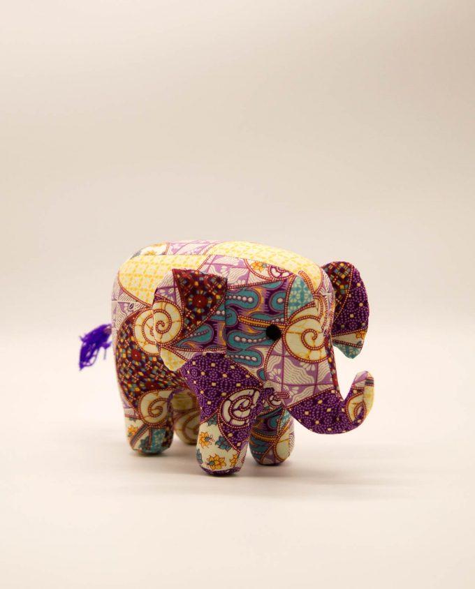 Ελέφαντας υφασμάτινος μπατικ χειροποίητος μεσαίο μέγεθος μωβ