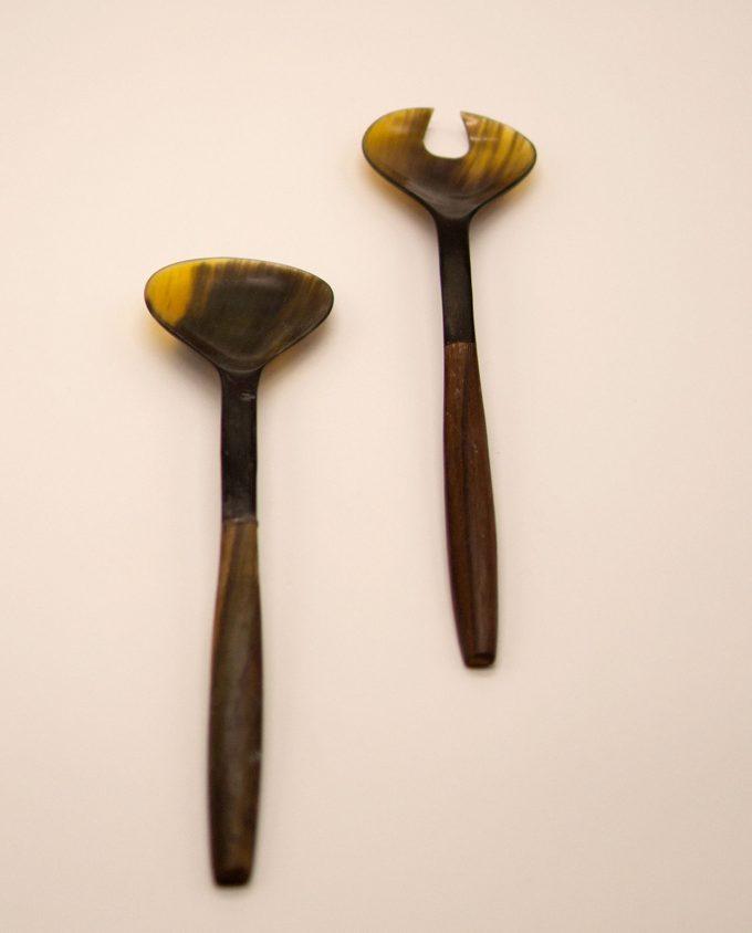 Κουτάλα & πηρούνα κόκκαλο με ξύλινο χερούλι Σετ 2 τεμαχιών