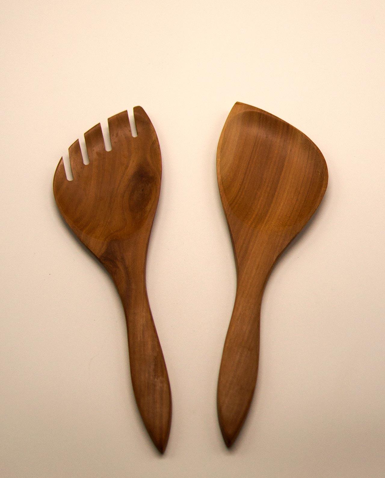 Kουτάλα & πηρούνα ξύλινες σετ 2 τεμαχίων
