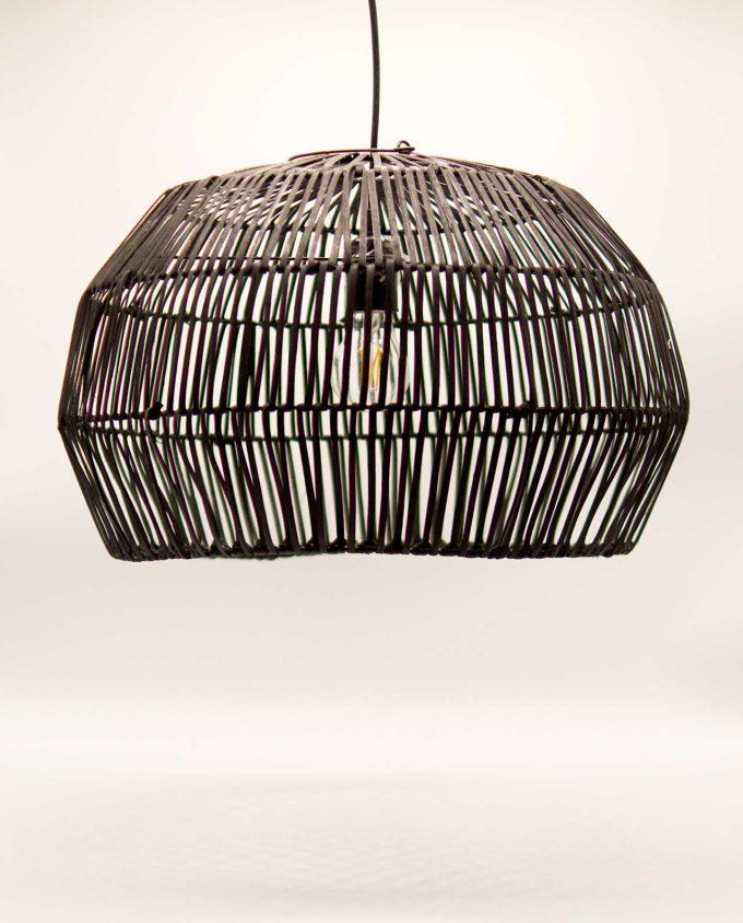 Φωτιστικό οροφής Ραττάν μαύρο διαμέτρου 50 cm