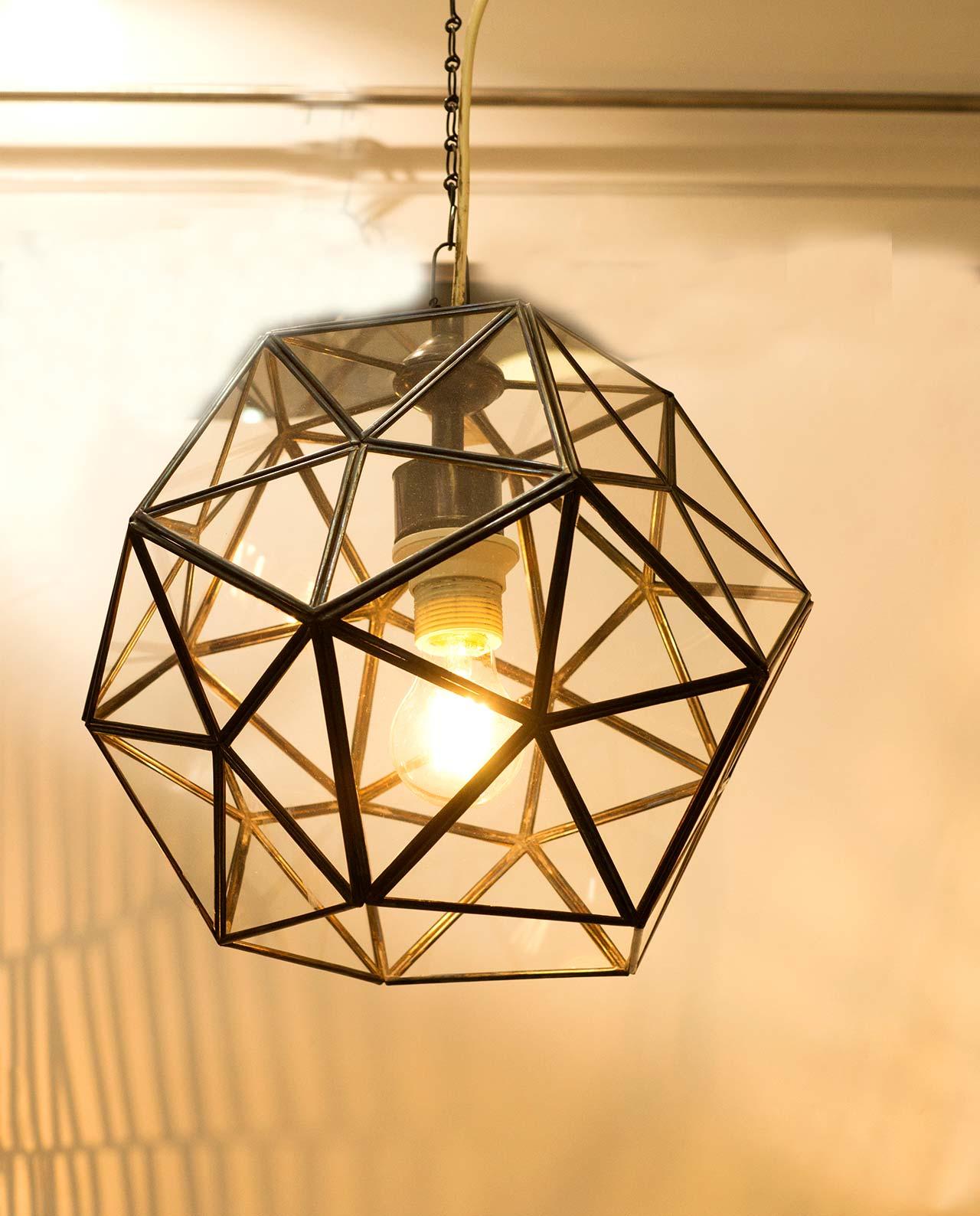 Φωτιστικό οροφής μπρουτζος καφέ & γυαλί διαμέτρου 30 cm