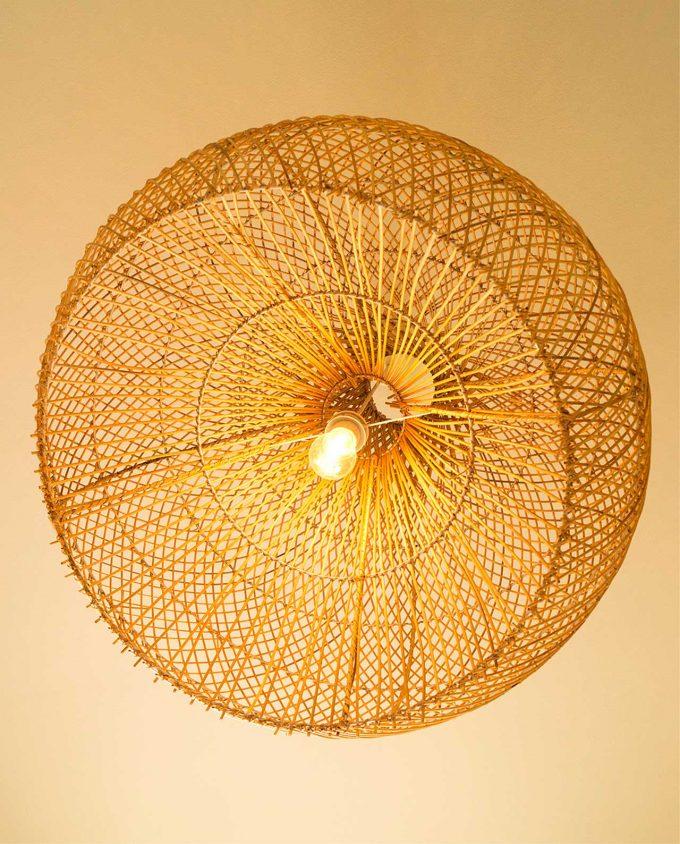 """Φωτιστικό οροφής Ραττάν φυσικό """"Pumpkin"""" διαμέτρου 70 cm"""