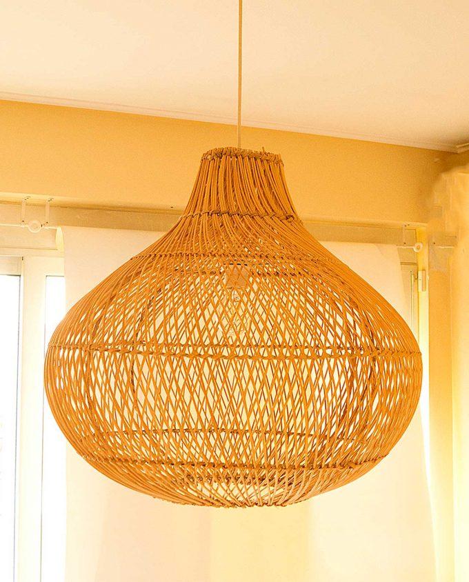 """Φωτιστικό οροφής Ραττάν φυσικό """"Pumpkin"""" διαμέτρου 60 cm"""