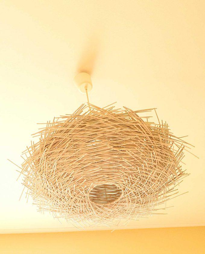 """Φωτιστικό οροφής Ρατταν """"Urchin"""" διαμέτρου 70 cm άσπρο χρώμα"""