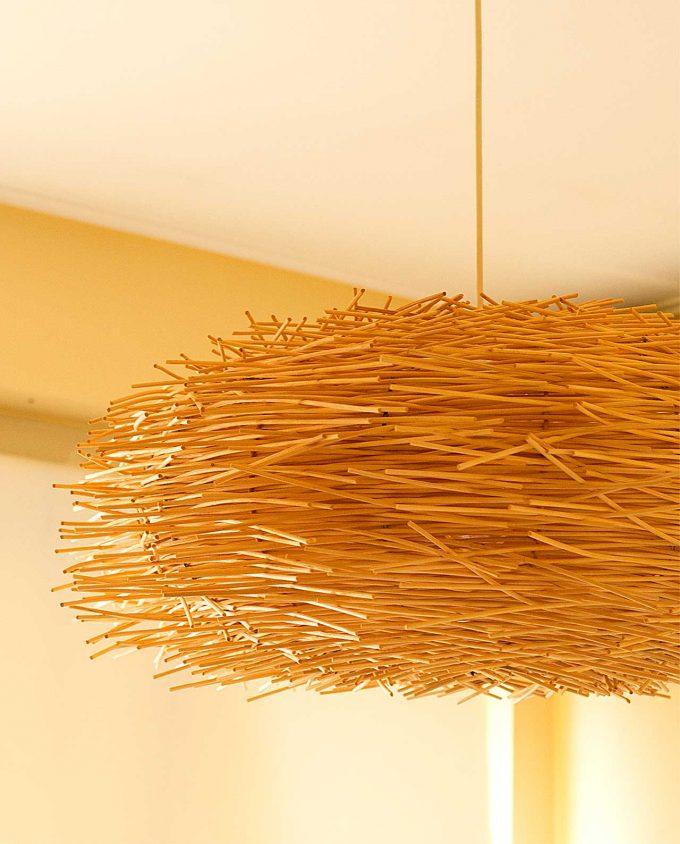 """Φωτιστικό οροφής Ρατταν """"Urchin"""" διαμέτρου 70 cm φυσικό χρώμα"""