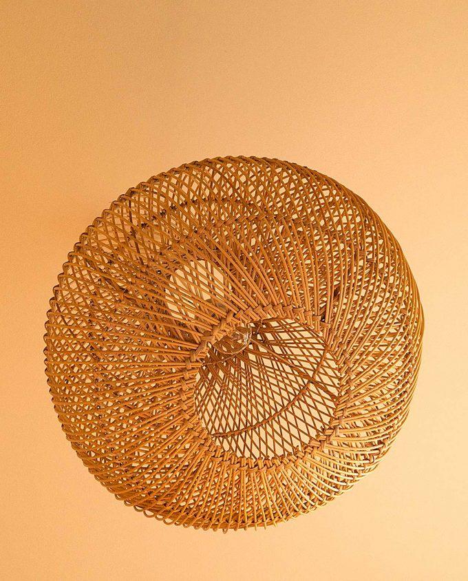 """Φωτιστικό οροφής Ραττάν φυσικό """"Pumpkin"""" διαμέτρου 50 cm"""