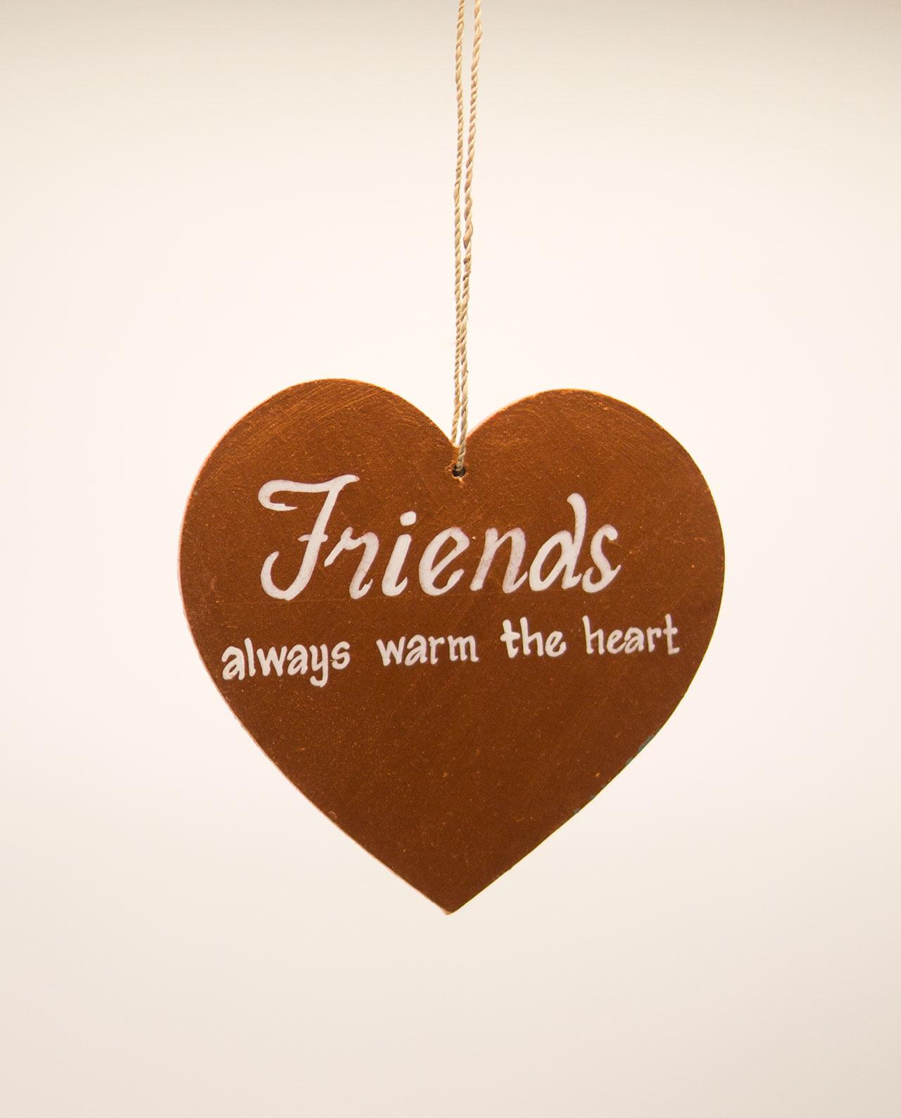 Καρδιά ξύλινη χειροποίητη της φιλίας διάμετρος 15 cm χρυσή