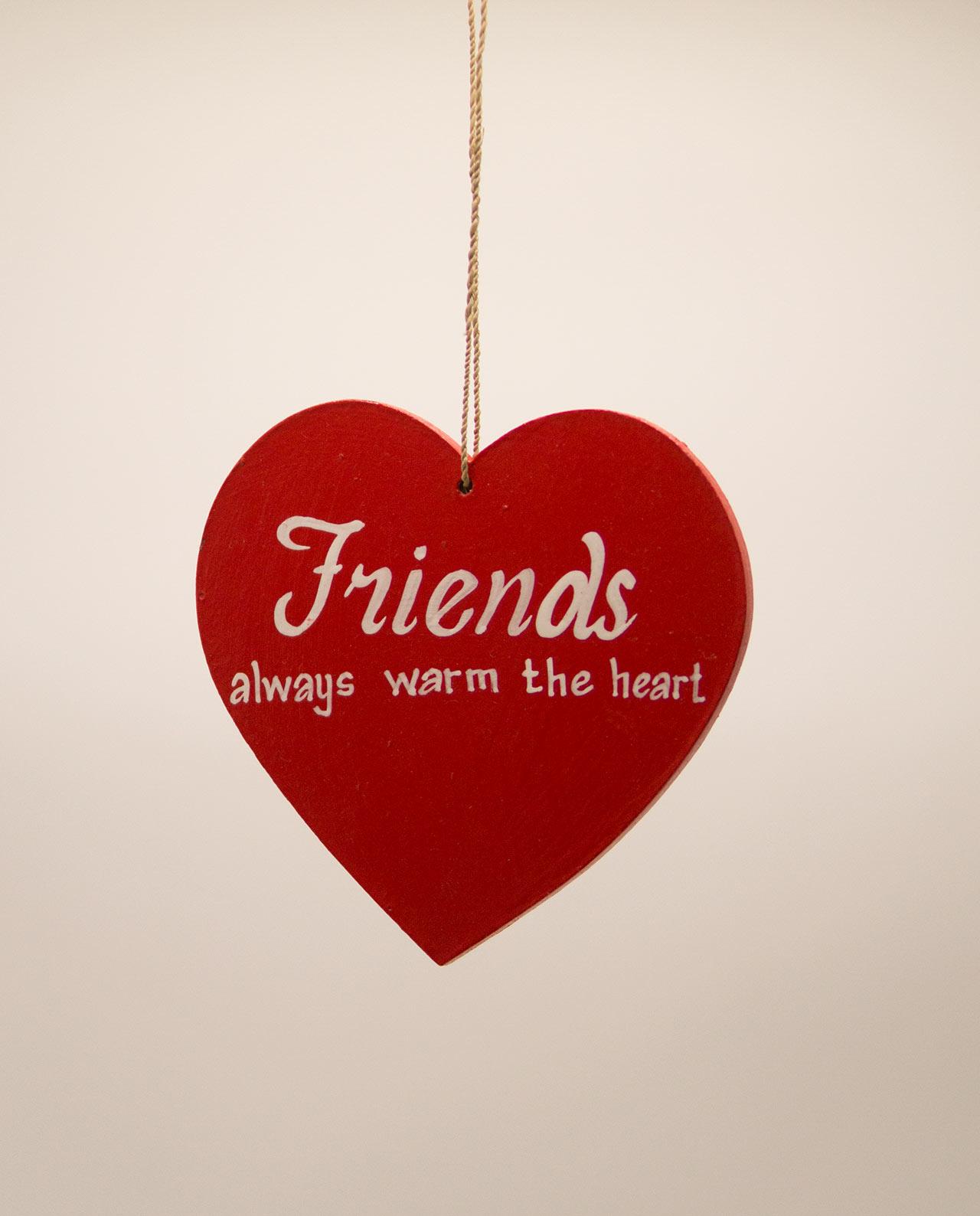 Καρδιά ξύλινη χειροποίητη της φιλίας διάμετρος 15 cm κόκκινη