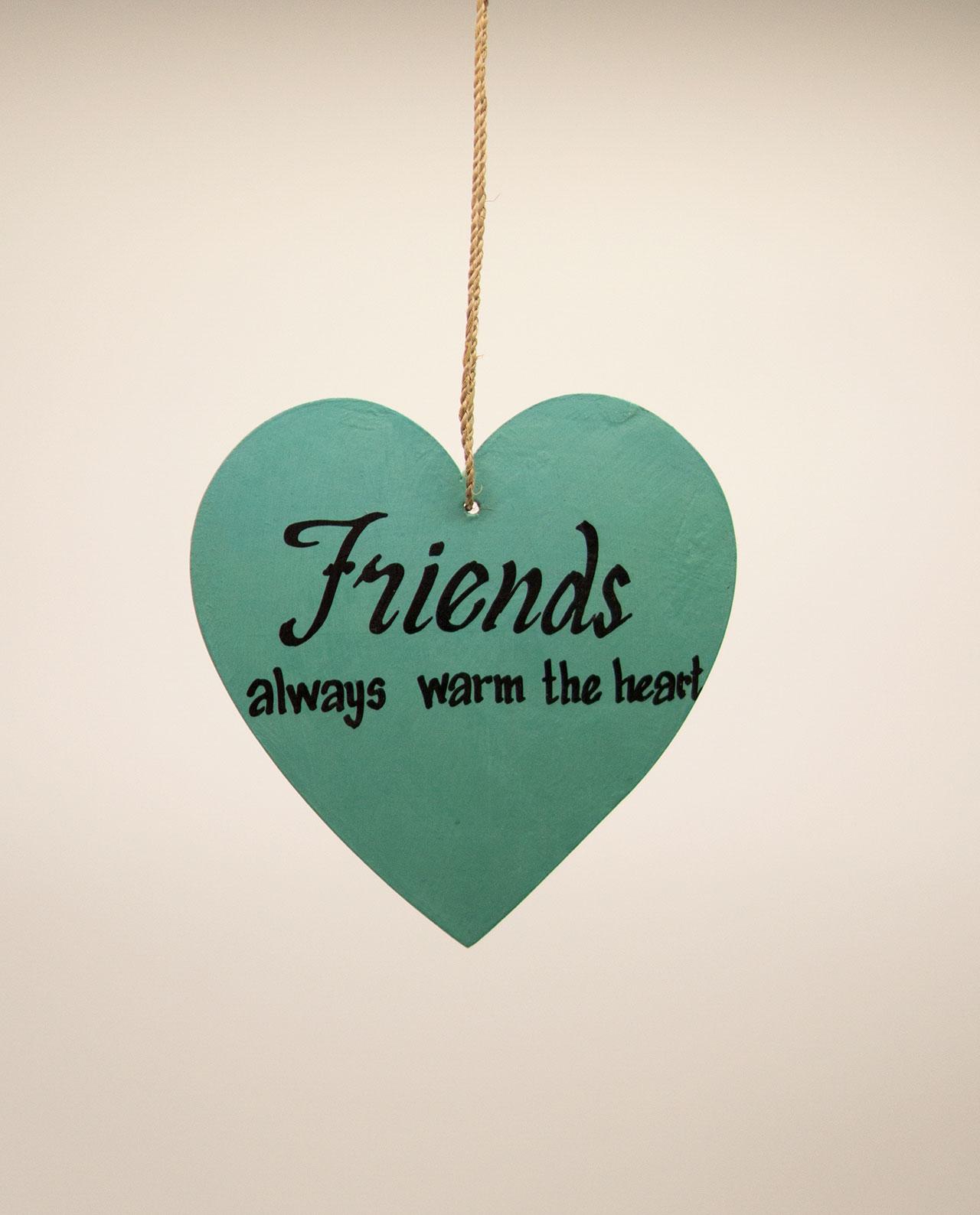 Καρδιά ξύλινη χειροποίητη της φιλίας διάμετρος 15 cm τιρκουαζ