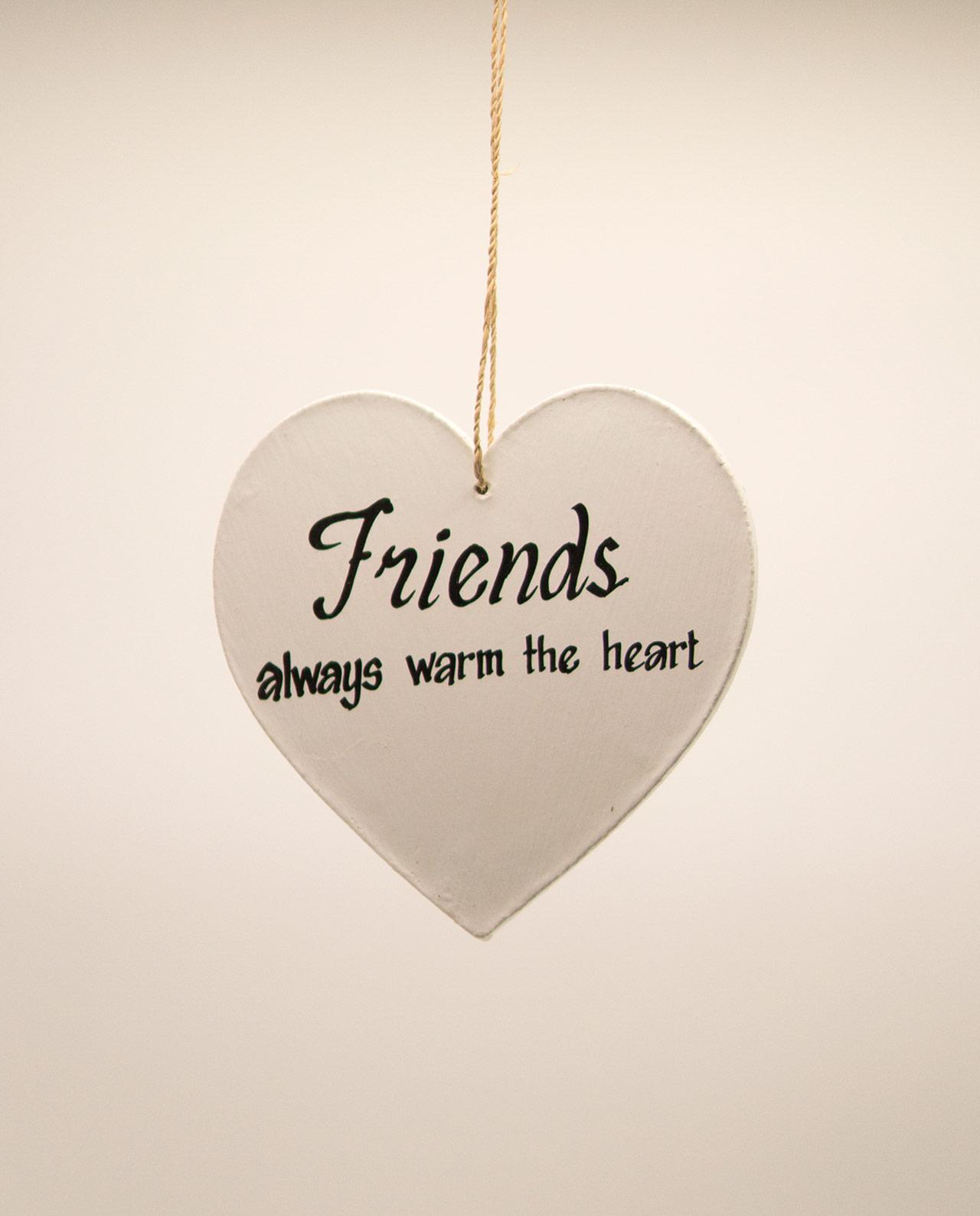 Καρδιά ξύλινη χειροποίητη της φιλίας διάμετρος 15 cm άσπρη