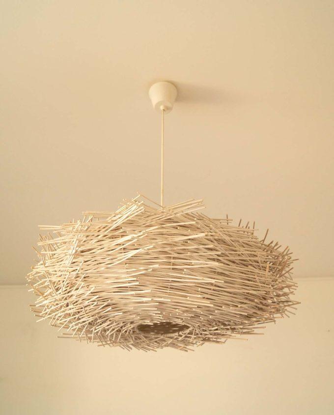 hanging lamp rattan diam.65 cm white