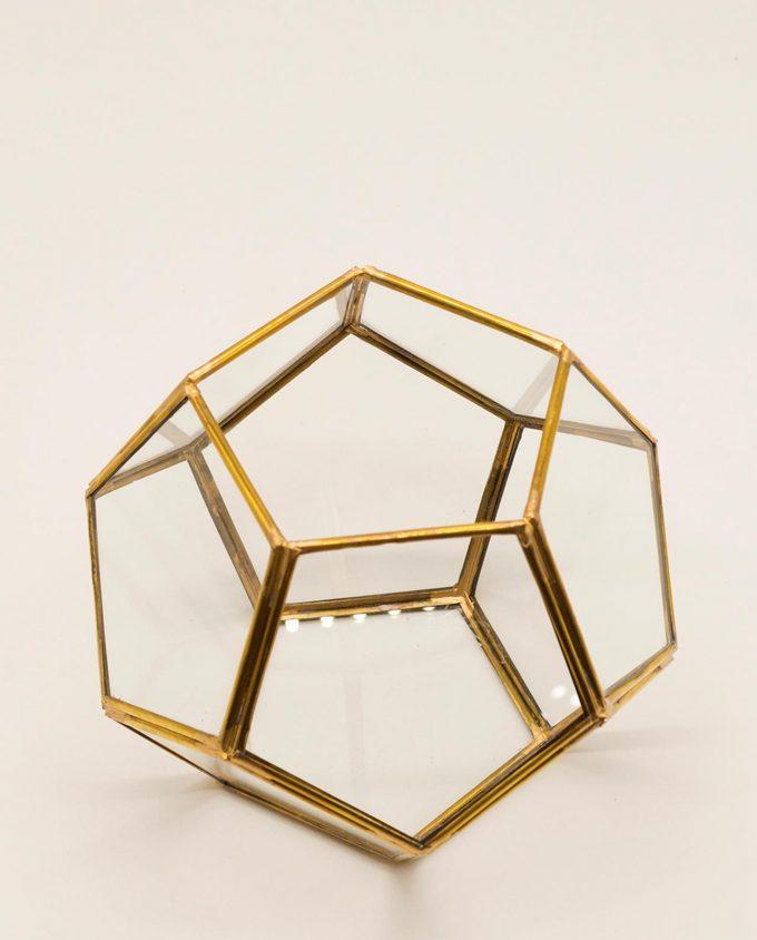 """Φανάρι """"Disco"""" χαλκός & γυαλί χειροποίητο διαμέτρου 15 cm χρώμα χρυσό"""