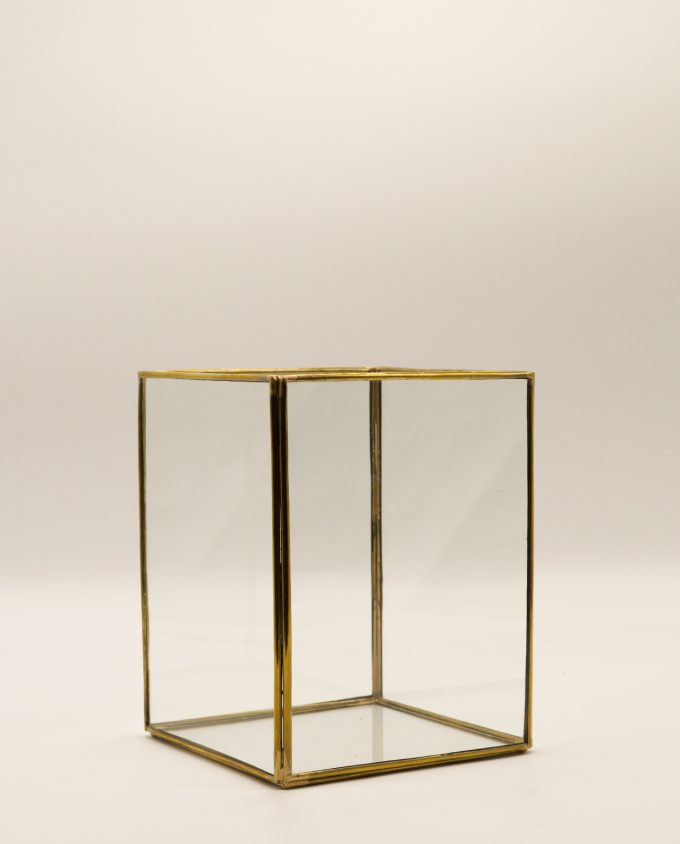 Lantern rectangular handmade copper & glass, height 20 cm, color gold
