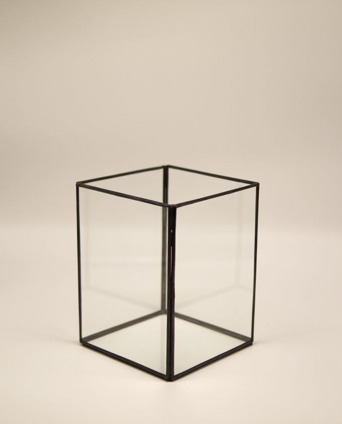Lantern rectangular handmade from copper & glass, height 20 cm, color brown