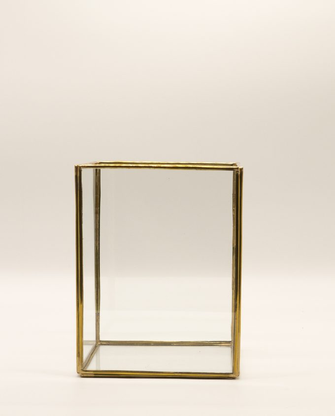 Lantern rectangular handmade from copper & glass, height 20 cm, color gold