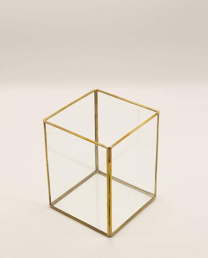 Lantern rectangular handmade from copper & glass, height 20 cm, color gold