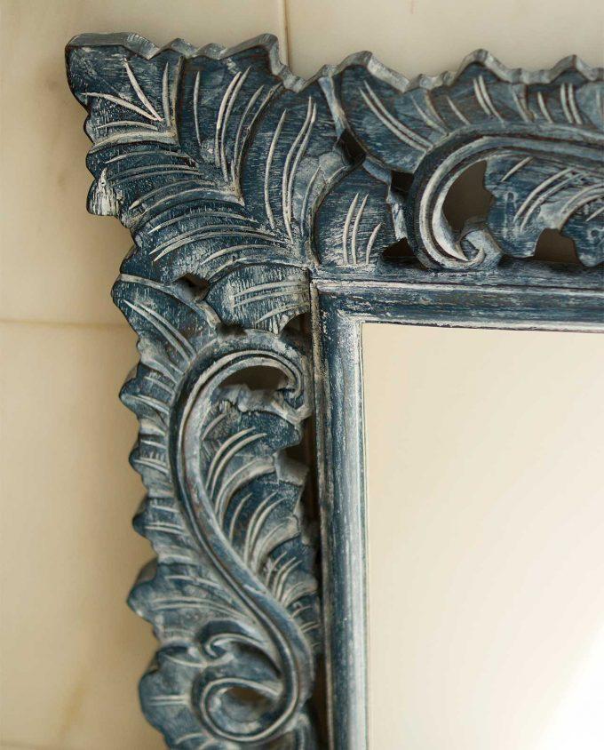 Καθρέπτης ξύλινος χειροποίητος σκαλιστός 90 cm x 90 cm μπλε ντεκαπέ