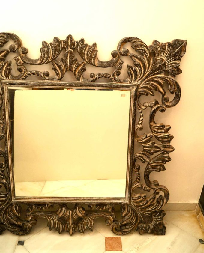 Mirror wooden handmade crafted brown 80 cm x 80 cm
