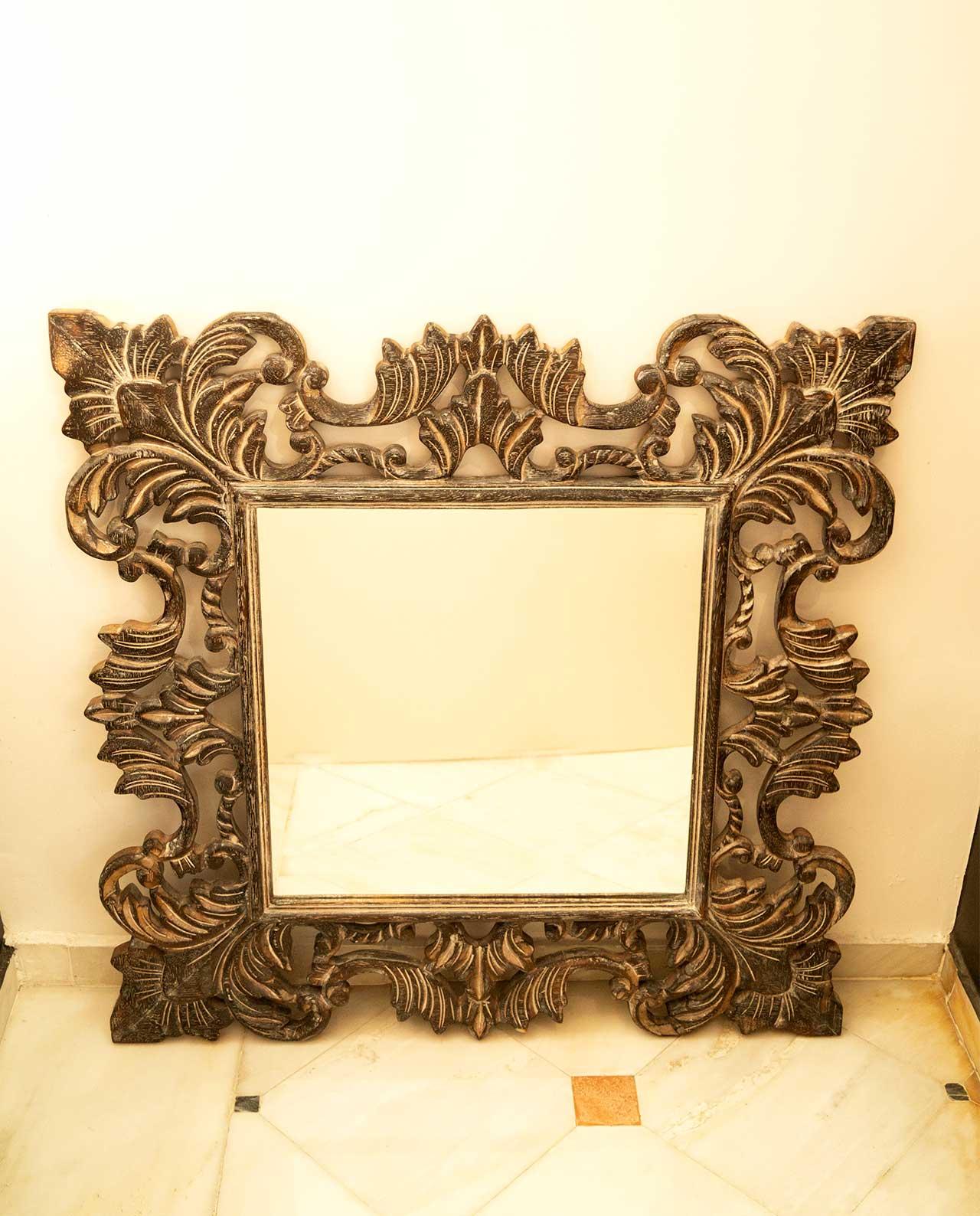 Καθρέπτης ξύλινος χειροποίητος καφέ ντεκαπέ 90 cm x 90 cm