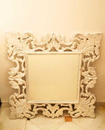 Καθρέπτης ξύλινος χειροποίητος άσπροσ ντεκαπέ 90 cm x 90 cm