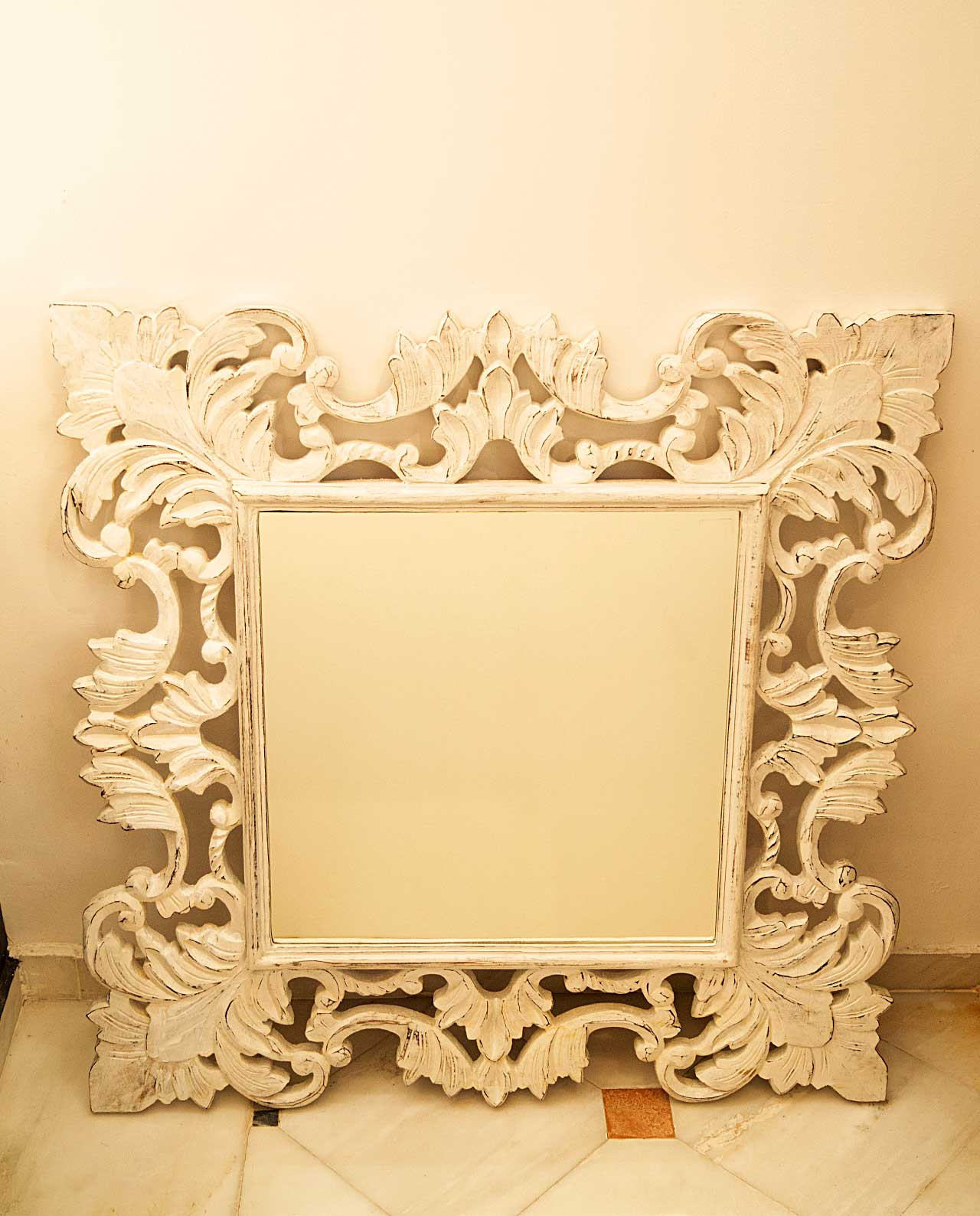Mirror wooden handmade crafted white 80 cm x 80 cm