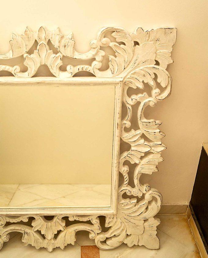 Mirror wooden handmade crafted white 90 cm x 90 cm
