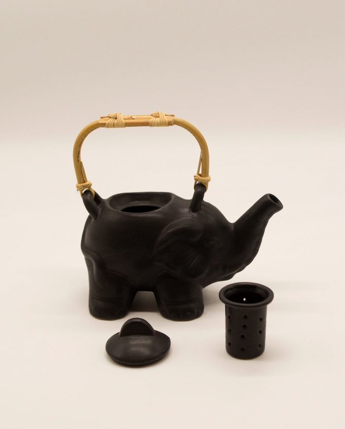 Τσαγιέρα ελέφαντας κεραμική με μπαμπού χερούλι μαύρη