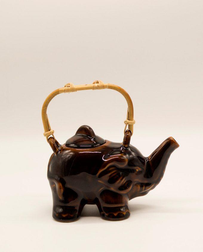 Τσαγιέρα ελέφαντας κεραμική με μπαμπού χερούλι καφέ