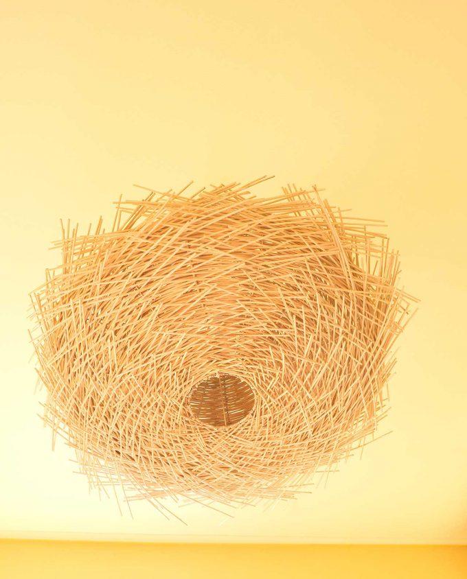 Φωτιστικό οροφής Ρατταν «Urchin» διαμέτρου 80 cm άσπρο