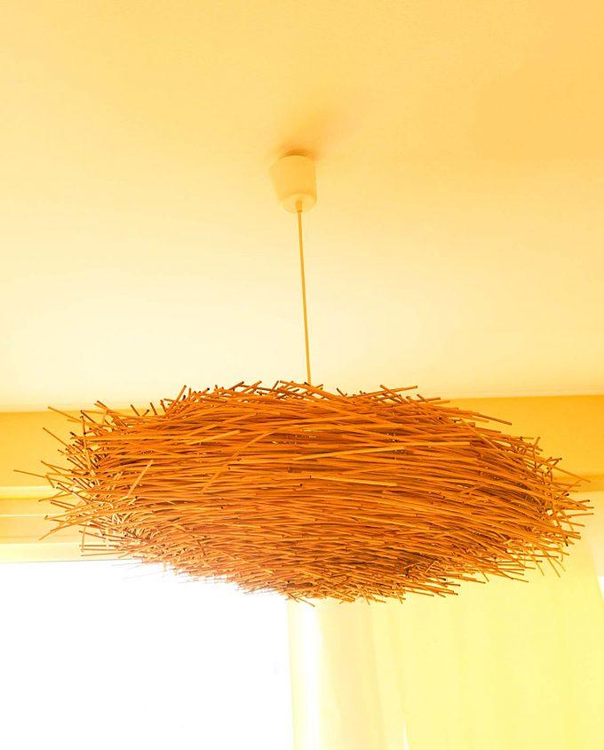"""Κρεμαστό φωτιστικό Rattan """"αχινός"""" διαμέτρου 80 cm φυσικό"""