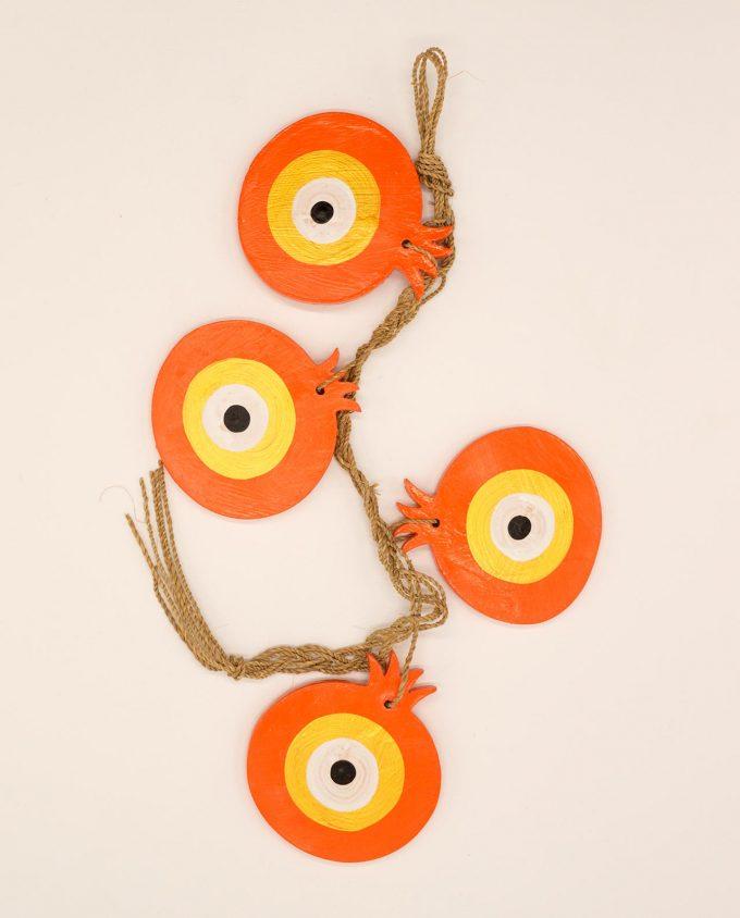 Γιρλάντα με 4 ξύλινα ρόδια ματάκι χειροποιήτα πορτοκαλί χρυσό