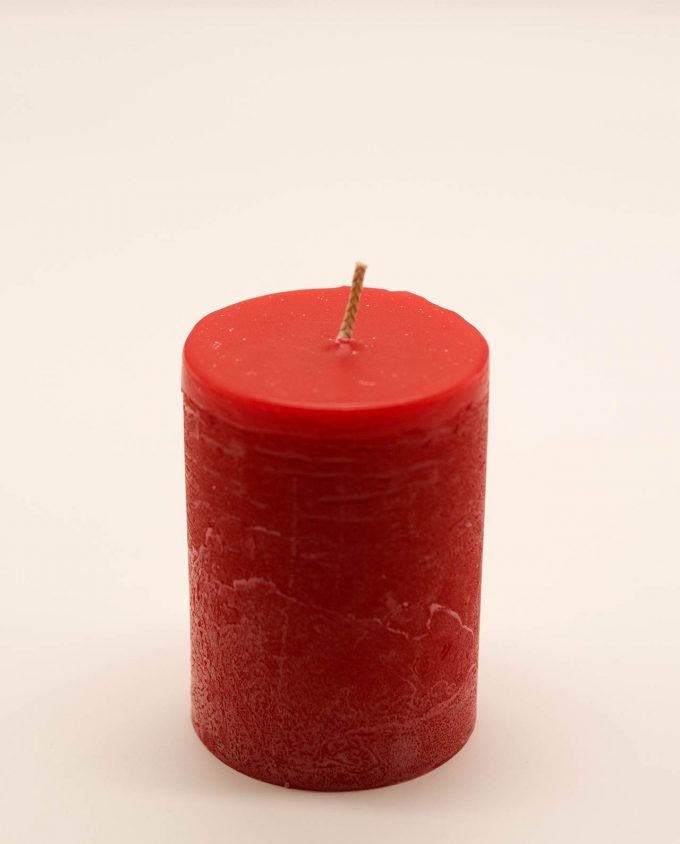 Κερί κόκκινο αρωματικό ρουστικ διαμέτρου 7 cm, υψους 10 cm