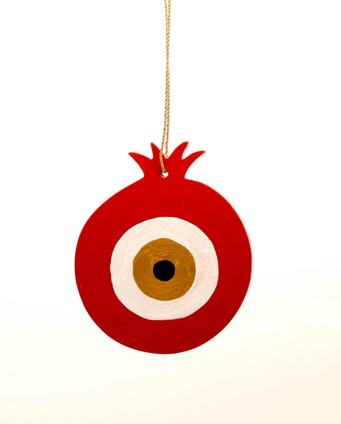 Pomegranate evil eye red-gold wooden