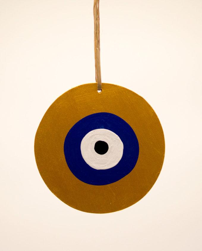 Ματάκι ξύλινο χειροποίητο μπλε χρυσό διαμέτρου 13 cm