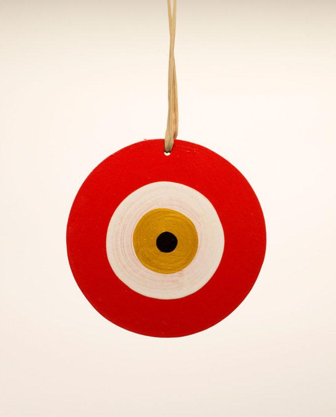 Ματάκι ξύλινο χειροποίητο λουλακί κόκκινο διαμέτρου 13