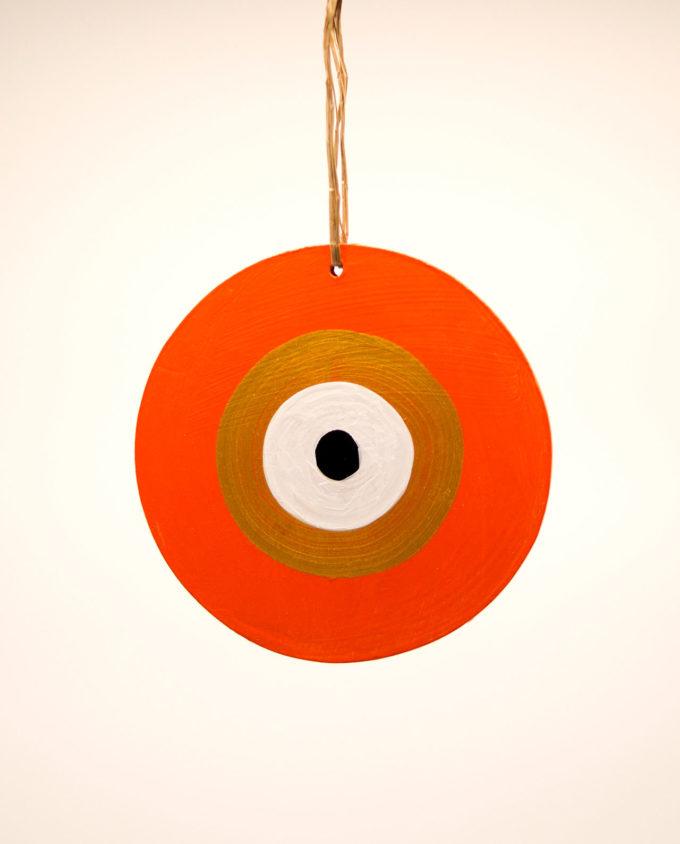 Ματάκι ξύλινο χειροποίητο πορτοκαλί χρυσό διαμέτρου 13 cm