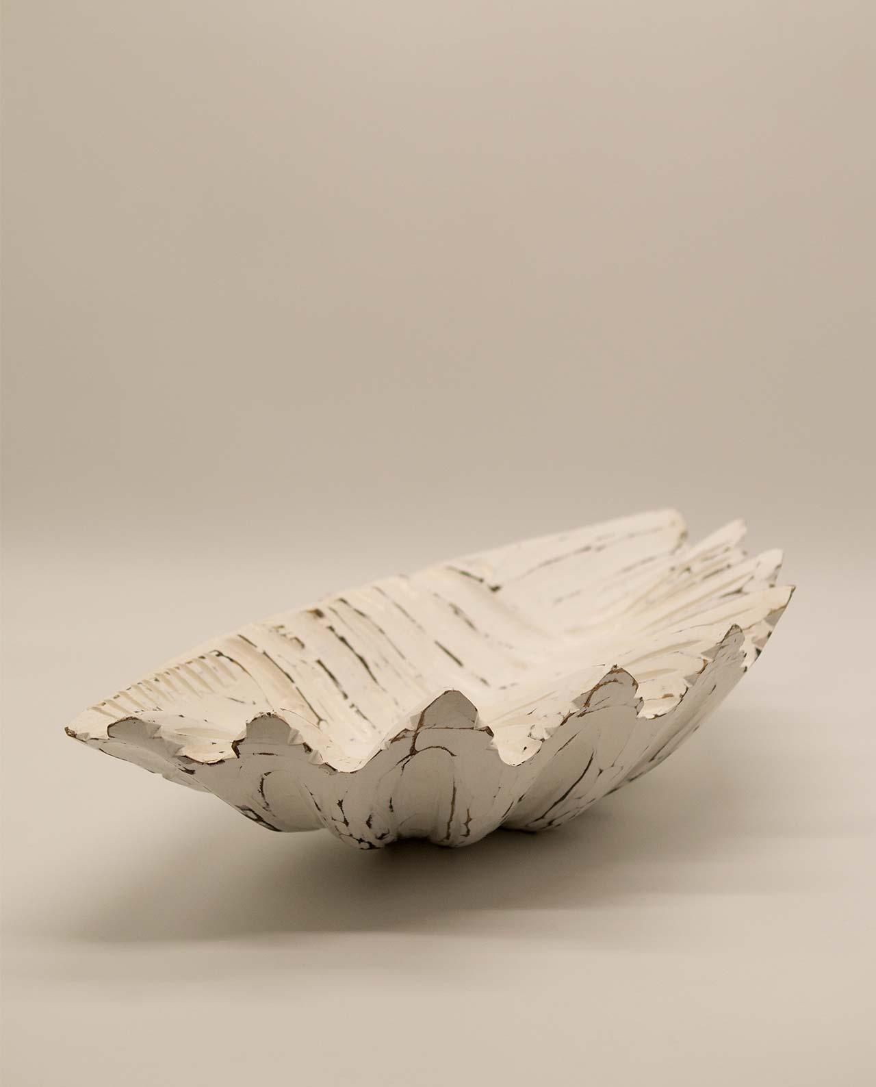 Μπωλ ξύλινο αχιβάδα άσπρη ντεκαπέ