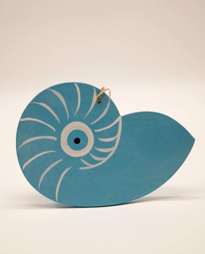 Κοχύλι ματάκι Ναυτίλος ξύλινο χειροποίητο γαλάζιο 17 x 12 cm