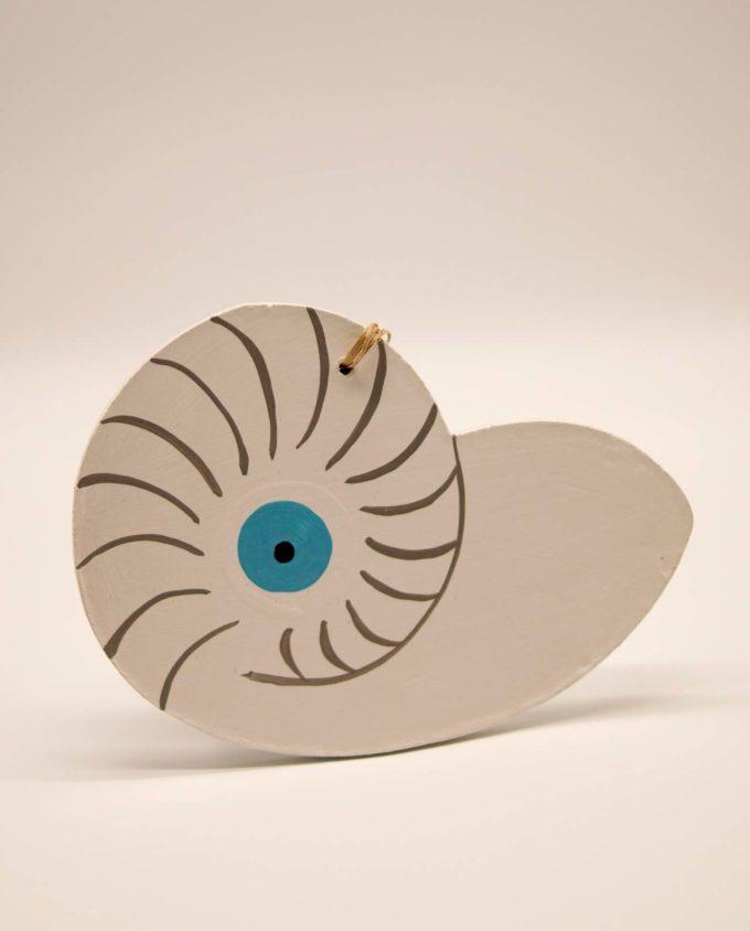 Κοχύλι ματάκι Ναυτίλος ξύλινο χειροποίητο άσπρο 17 x 12 cm