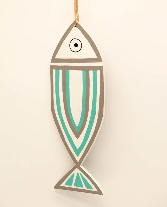 Wooden fish New Greek stripes turquoise