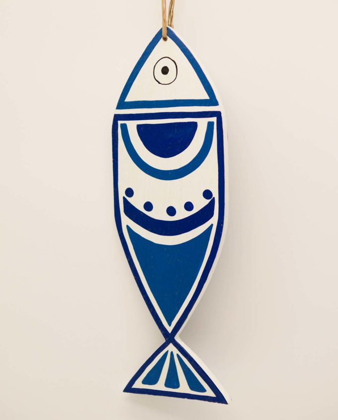 Ψάρι ξύλινο χειροποίητο New Greek κύκλοι μπλε